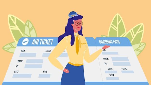 Assistente di volo, illustrazione vettoriale hostess
