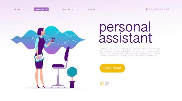 Assistente personale, illustrazione di riconoscimento vocale