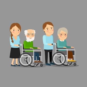 Assistente sociale passeggiando sedia a rotelle