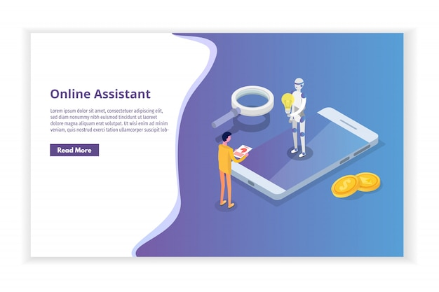 Assistente virtuale online, concetto isometrico di chat bot. illustrazione.