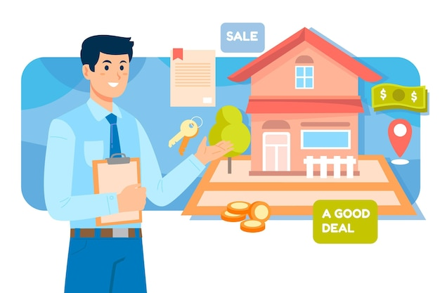 Assistenza di agente immobiliare con uomo e casa