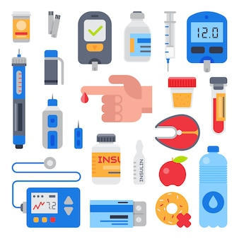 Assistenza medica per diabetici per diabetici e dito con goccia di sangue per testare lo zucchero glucosio illustrazione set di farmaci per il diabete mellito con medicinali e insulina isolato