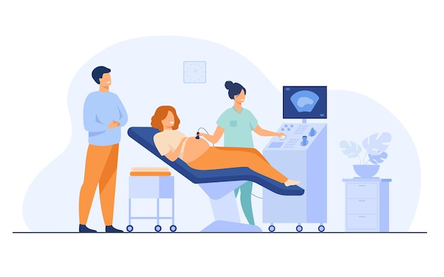Assistenza prenatale . ecografista che esamina ed esamina la donna incinta mentre aspettava il padre che guarda il monitor. illustrazione vettoriale per esame medico, ecografia, argomenti di test ad ultrasuoni