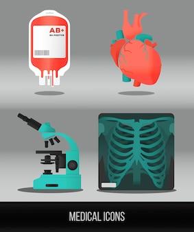 Assistenza sanitaria di vettore e icona medica impostato in stile piano.