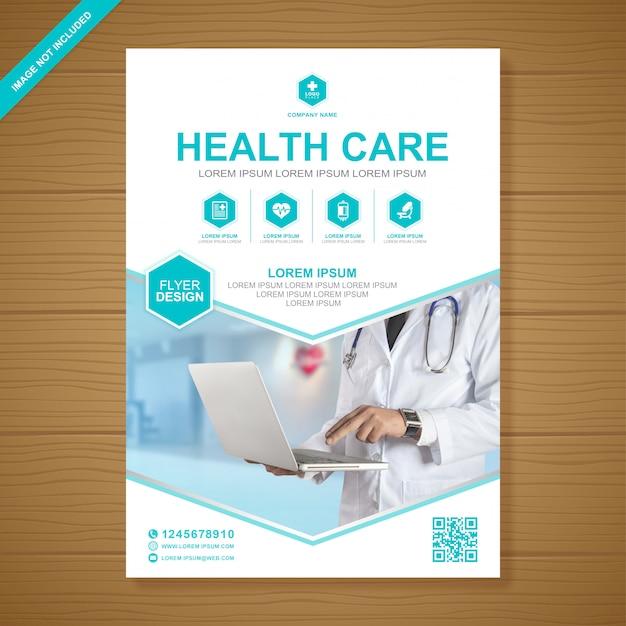 Assistenza sanitaria e copertura medica modello di progettazione volantino a4