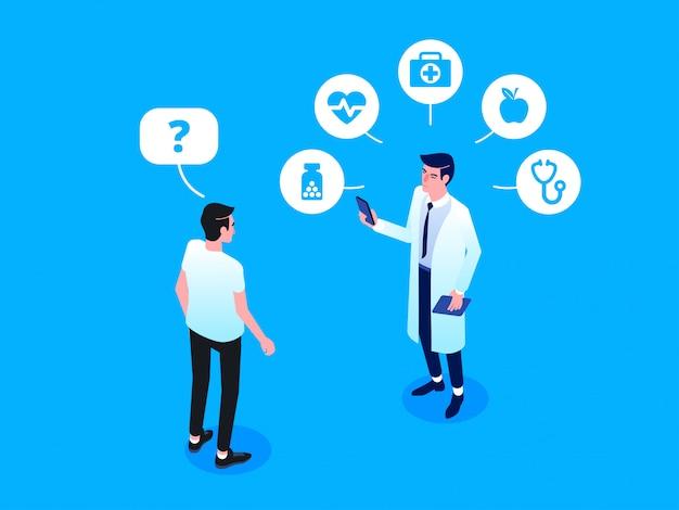 Assistenza sanitaria e tecnologia innovativa. illustrazione isometrica di vettore