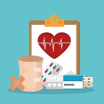 Assistenza sanitaria medica con icone set