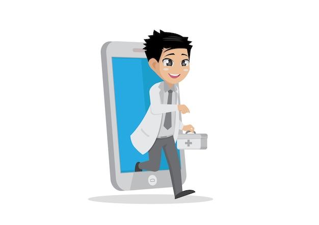 Assistenza sanitaria online medico negli smartphone.