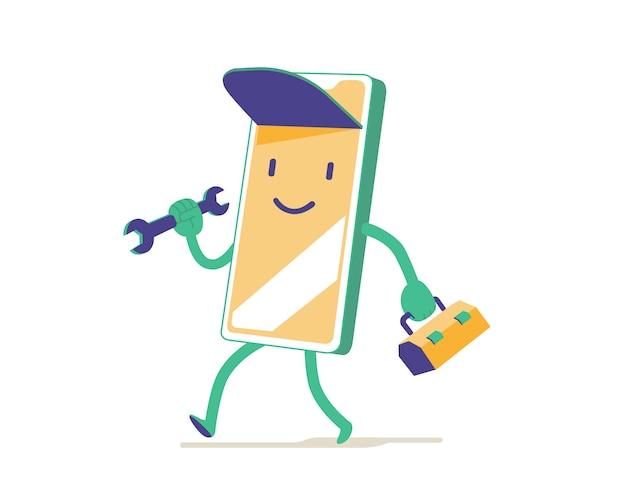 Assistenza tecnica rapida. simpatico personaggio dei cartoni animati meccanico con chiave inglese e cassetta degli attrezzi per l'applicazione mobile
