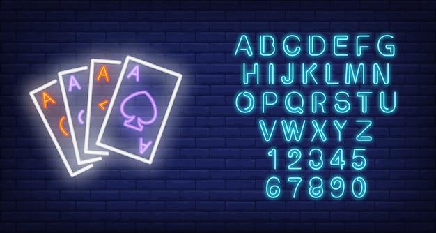 Asso carte insegna al neon
