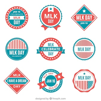 Assortimento di badge piatte per il giorno di martin luther king