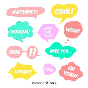 Assortimento di bolle di discorso con espressioni