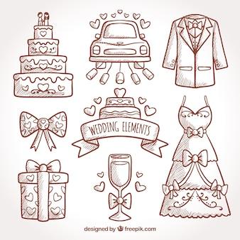 Assortimento di elementi decorativi disegnati a mano per matrimoni