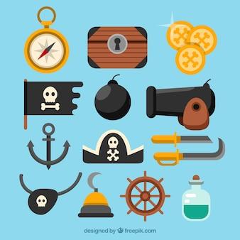 Assortimento di elementi pirata piatti