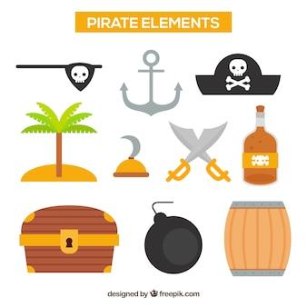 Assortimento di elementi pirati decorativi piatti