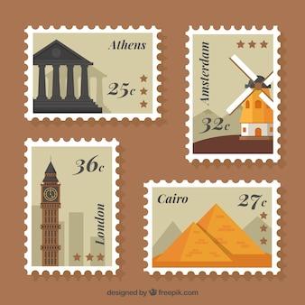 Assortimento di francobolli di città in disegno piatto