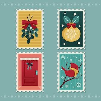 Assortimento di francobolli natalizi piatti