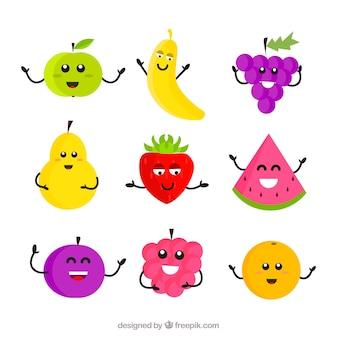Assortimento di frutta caratteri in design piatto