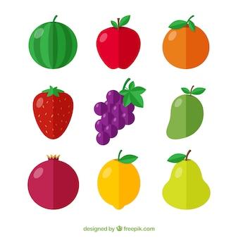 Assortimento di frutti deliziosi in design piatto