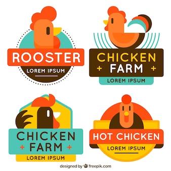 Assortimento di loghi colorati di pollo