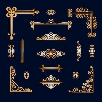 Assortimento di ornamenti con bordo dorato
