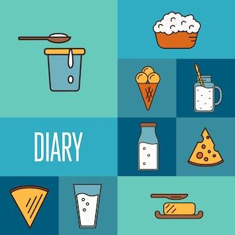 Assortimento di prodotti lattiero-caseari, composizione quadrata