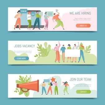 Assumere illustrazione. concetto di banner di posto vacante. noleggio datore di lavoro per lavoro. le persone assunte si offrono di unirsi al team.