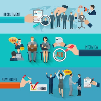 Assumi l'insegna orizzontale messa con gli elementi piani di intervista di reclutamento isolati