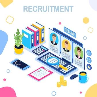 Assunzione, concetto di reclutamento online. ricerca candidati per colloquio di lavoro.