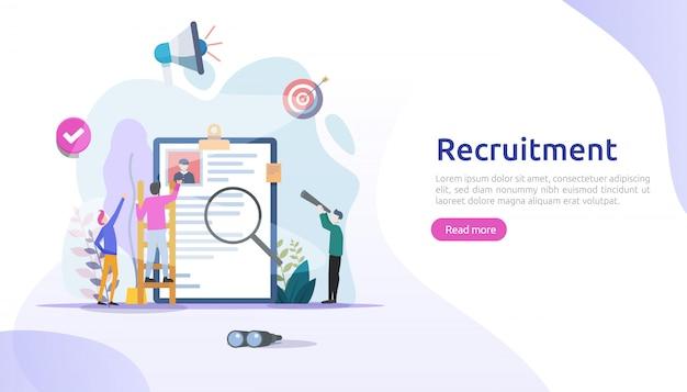 Assunzione di lavoro e concetto di reclutamento online con carattere di persone minuscole. intervista in agenzia. selezionare un processo di ripresa. modello per la pagina di destinazione web