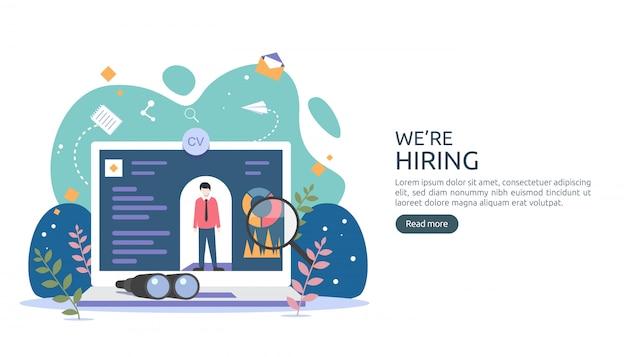 Assunzione di lavoro e concetto di reclutamento online con caratteri minuscoli. selezionare un processo di ripresa.