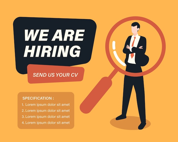Assunzione di personale e reclutamento concetto di business con uomo d'affari e illustrazione lente di ingrandimento