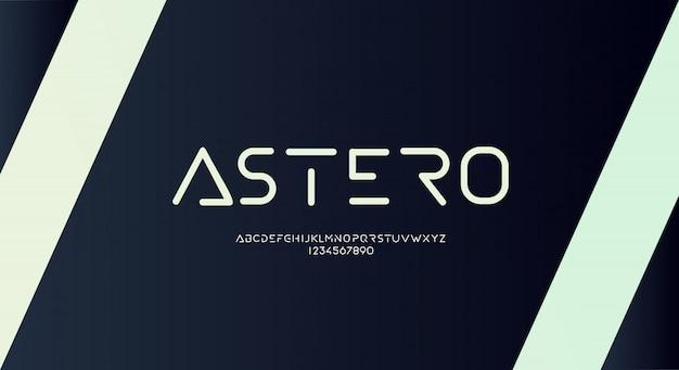 Astero, un carattere alfabeto futuristico arrotondato sottile con tema tecnologico. moderno design tipografico minimalista