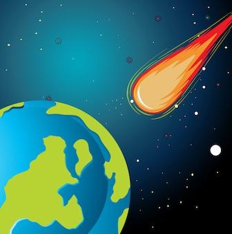 Asteroide che cade sulla terra