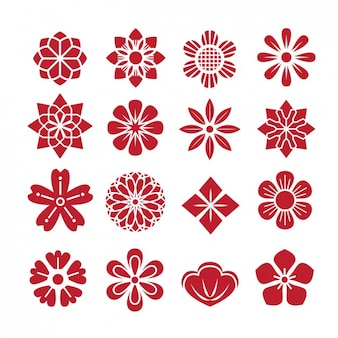 Astratta collezione di icone di fiori