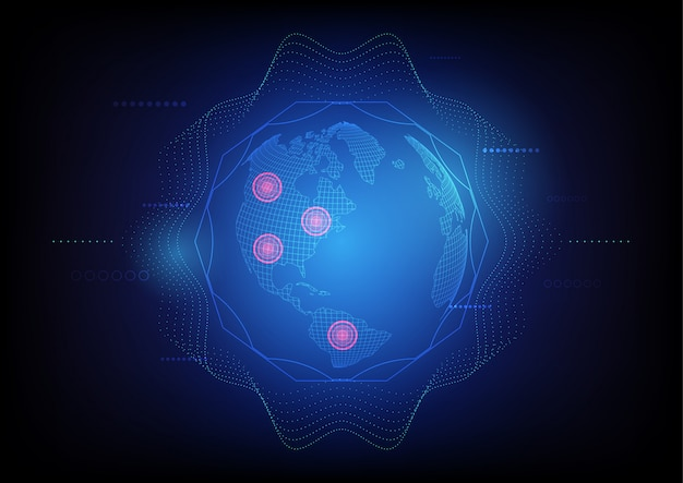 Astratta tecnologia globale satellitare, sistema di ricerca della posizione