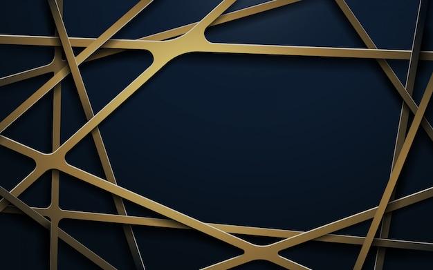 Astratte linee d'oro di lusso e sfondo blu scuro