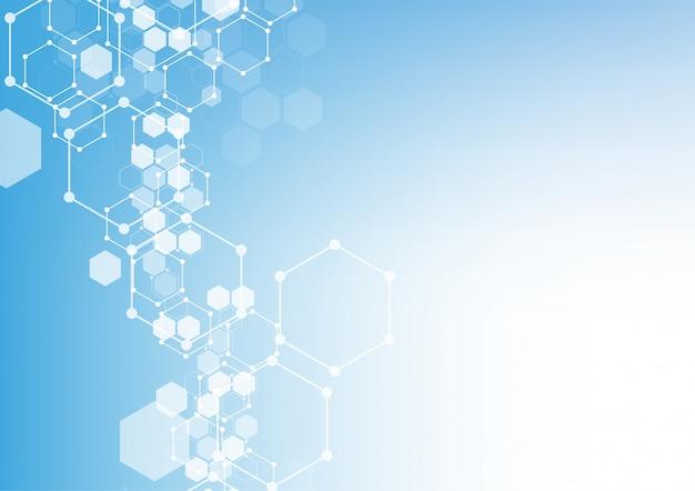 Astratte strutture molecolari esagonali