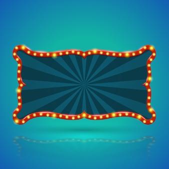 Astratto banner luce retrò con lampadine sul contorno
