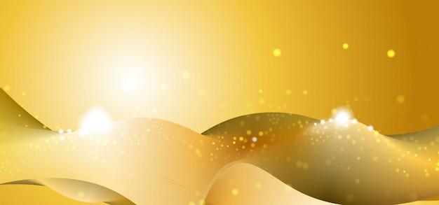 Astratto banner oro con linee morbide