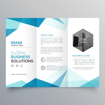 Astratto blu business trifold brochure design template