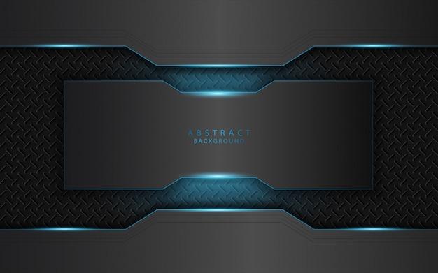 Astratto blu chiaro su sfondo di forme di metallo scuro
