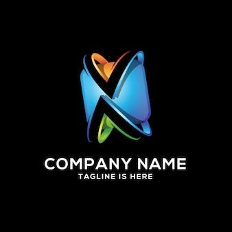 Astratto colorato lettera x logo