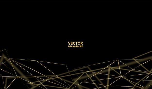 Astratto. comunicazioni o tecnologia, background scientifico. linea oro collegato su sfondo nero.