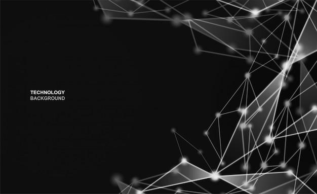 Astratto. comunicazioni o tecnologia, punti collegati su sfondo nero.