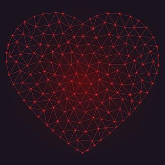 Astratto cuore poligonale con punti e linee incandescente.