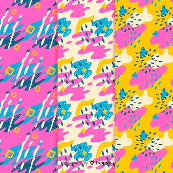 Astratto disegnare sfondo con raccolta di pattern