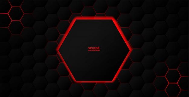 Astratto. esagono sfondo nero, luce rossa e ombra.