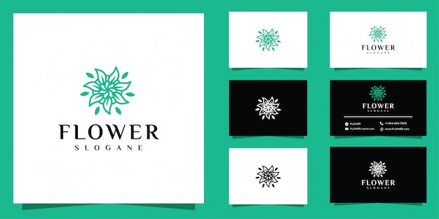 Astratto fiore logo e carta di affari