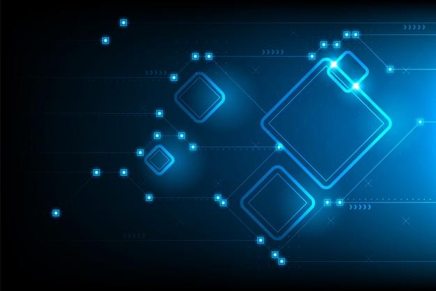 Astratto futuristico circuito quadrato